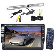 "7""Touch AM FM CD Mp3 USB Pyle Receiver,Zinc Rear Night LED Vision Back Up Camera"