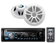 "2 White Boss 6.5"" 180W Car Speaker Set, Bluetooth USB iPod AUX CD Car Receiver"