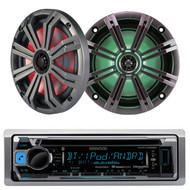 """KMRD368 Marine CD Mp3 iPod USB Pandora Radio, Marine Kicker 6.5"""" Speaker LED Set"""