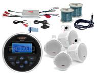 """6.5""""Wakeboard Marine Speakers/Wires, Jensen AUX USB Boat Radio/Antenna,Amplifier"""