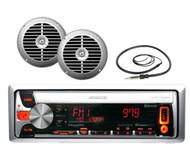 """KMR-D558BT Marine USB MP3/CD iPod Pandora Stereo 2 X 6.5""""120W Silver Speakers"""