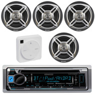 "Package Bundle Kit Includes: 1 Kenwood KMR-D365BT Bluetooth Stereo USB/AUX CD Player Receiver Unit + 4x (2 Pairs) of Enrock EKMR1672B 6-1/2"" Inch Charcoal/Silver Marine Speakers + 1 Dual XGPS10M Boat Bluetooth Wireless GPS Receiver"