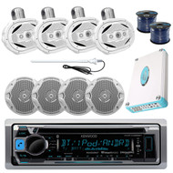 "4800W Marine Amplifier, 6x9""/6.5""Speakers,Wires, Antenna, Bluetooth CD USB Radio"