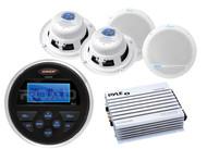 """400W Marine Amplifier, Marine Jensen USB AM FM AUX Radio, 5.25"""" Marine Speakers"""