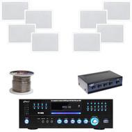 """PD1000A DVD USB Receiver,6.5"""" In-Wall Speaker Set, Speaker Selector,Speaker Wire"""