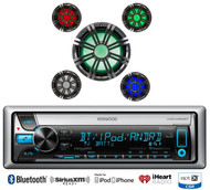 "10"" Kicker Multi Color LED Subwoofer, Kenwood Marine Bluetooth For iPod CD Radio"