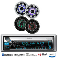 "Kicker 8"" Coaxial LED Marine Speakers,Bluetooth iPod CD USB Kenwood Marine Radio"
