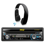 "In Dash Pyle Bluetooth CD USB 7"" Receiver, Black Bluetooth Wiresless Headphones"