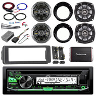 CD 98-2013 Bluetooth Harley FLHTC Adapter DIN Kit, Amp Set, Kicker Speaker Set