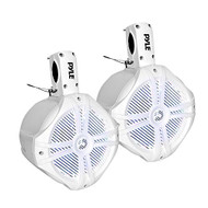 Pyle Marine Wakeboard Water Resistant Speakers, Built-in Programmable Multi-Color LED Lights, 8'' Tower Speakers, 260 Watt, Remote Control, White (Pair)