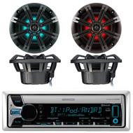 "Kenwood KMR-D765BT Marine Boat Yacht Outdoor CD MP3 USB AUX Bluetooth AM/FM Radio Receiver, Kicker 41KM84LCW 8"" KM Series Coaxial Marine Speakers w/ LED Lights"