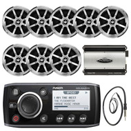 "Fusion Marine Am/Fm/Weather Band Receiver Sirius Ready Ipod Dock Ready Mechless Receiver,  JENSEN 6.5"" Inch Coaxial Stereo Silver Speakers, Jensen POWER760 Power760 4-Channel 760 Watt Black Amplifier, EKMR1 Enrock Marine Wire Antenna (Black)"