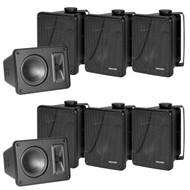 "8 X Kicker 11KB6000B Black Full Range indoor/outdoor Weather Resistant 6.5"" Inch Marine Boat Enclosed Box Speakers"