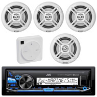 "Package Bundle Kit Includes: 1 JVC KD-X35MBS Bluetooth Stereo USB/AUX Receiver Unit + 4x (2 Pairs) of Enrock EKMR1672B 6-1/2"" Inch White Marine Speakers + 1 Dual XGPS10M Boat Bluetooth Wireless GPS Receiver"