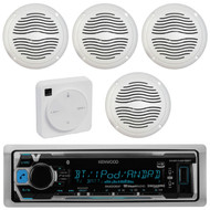 "Package Bundle Kit Includes: 1 Kenwood KMR-M318BT Bluetooth Stereo USB/AUX Receiver Unit + 4 x (2 Pairs) of Magnadyne AquaVibe WR65W 6-1/2"" Inch White Marine Speakers + 1 Dual XGPS10M Boat Bluetooth Wireless GPS Receiver"