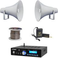 """13.5"""" PA Horn Speakers,Lavalier Mic Set, Speaker Wire,PA Bluetooth USB Amplifier"""