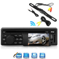 "In Dash Pyle 3"" LCD Screen CD USB AUX Radio,Pyle Waterproof Black Back Up Camera"
