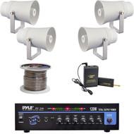 """5.6"""" PA Horn Speakers, Lavalier Mic System, PT210 Mono Amplifier, Speaker Wire"""