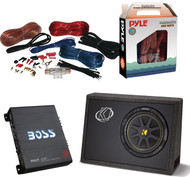 PACKAGE KIT INCLUDES: 1 Kicker 10TC104 10 Inches 300 Watt Car Subwoofer + 1 BOSS AUDIO R1100M Riot 1100-Watt Monoblock Amplifier + 1 Pyle PLMRAKT8 Marine Grade 8 Gauge Amplifier Installation Kit