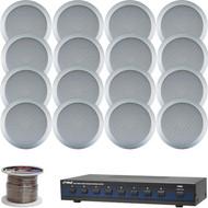 "Pyle Silver 6.5"" 200W In-Ceiling Speaker Set, Wiring, 8-Channel Speaker Selector"