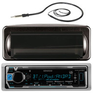 "Kenwood KMR-M318BT MP3/USB/AUX Marine Boat Yacht Stereo Receiver Player Bundle Combo With Jensen Marine MRH211B Black Water Resistant Housing + Enrock EKMR1 Water Resistant 22"" Inch Radio Antenna"