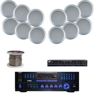 "Silver 200W 6.5"" In-Ceiling Speakers, Speaker Selector/Wire,USB DVD Mp3 Receiver"