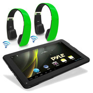 "2 Sound6 Green Headphones, Pyle 9"" Android 4.2 Bluetooth 3D Graphics Wifi Tablet"