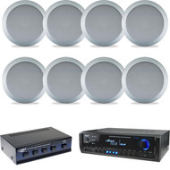 "Silver 5.25"" 150W In Ceiling/Wall Speakers/Selector, Bluetooth Home USB Receiver"