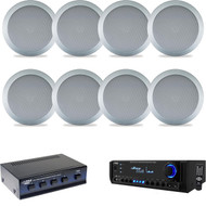"Pyle 300W Home USB AUX Receiver, Silver 5.25"" 2-Way Speakers & Speaker Selector"