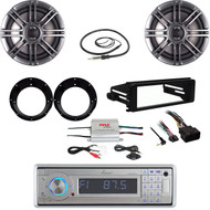 "Harley 98-2013 FLHX Install CD Kit-CD Stereo, Amp, Antenna, Polk 6.5""Speaker Set"