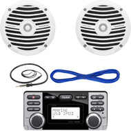 "Clarion CMD8 1.8-Inch Marine CD-USB-MP3 Receiver, Rockford Fosgate RM0652 6.5"" Inch Marine Boat Yacht Full Range Audio Speakers, White Pair, 14 Gauge 50 Foot Marine Speaker Wire , EKMR1 Enrock Marine Wire Antenna (Black)"