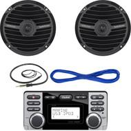 "Clarion CMD8 1.8-Inch Marine CD-USB-MP3 Receiver, Rockford Fosgate RM0652B 6.5"" Inch Marine Boat Yacht Full Range Audio Speakers, Black Pair, 14 Gauge 50 Foot Marine Speaker Wire , EKMR1 Enrock Marine Wire Antenna (Black)"