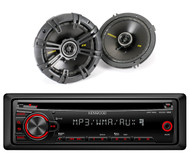 "KDC152 Kenwood Car CD AUX Mp3 Receiver, 2 Coaxial 300W Kicker 6.5"" 2Way Speakers"