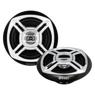 "MGH20 Dual Marine Boat Digital 4"" Round IPX6 Radio USB iPod iPhone Stereo Receiver, Enrock Marine Boat 6.5"" Inch Dual-Cone Black/Chrome Stereo Speakers"