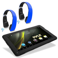 """Pyle 9"""" WiFi Touch 3D Graphics Bluetooth Tablet, 2 Wireless Blue Pyle Headphones"""