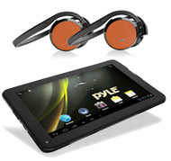 Pyle Android 4.0 Bluetooth 3D Graphics Tablet,2 Pyle Orange Bluetooth Headphones
