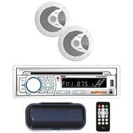 Pyle PLCDBT65MRW Bluetooth Marine Stereo Radio Receiver & Waterproof (2) 6.5'' Speaker Kit, CD Player