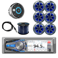 Dual Bluetooth Receiver with Dual 2-way Marine Speakers with Blue Light LED 3-Pairs, Dual Waterproof Marine Wired Remote Control, Enrock Marine 50 Foot 16 Gauge Speaker Wire & Enrock Marine Antenna