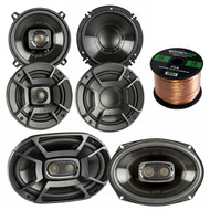 "2x Polk Audio DB522 5.25-Inch 300-Watt 2-Way Speakers, 2x DB6502 6.5"" 300W 2 Way Car/Marine Speakers, 2x 6x9 Inch 450W 3-Way Car/ Boat Coaxial Stereo Audio Speakers, Enrock 16-Gauge 50 Ft Speaker Wire"