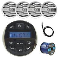 "DS18 Waterproof Marine Stereo Receiver Radio, 4x White Boat 6.5"" Speakers w/ RGB LED Lights, Enrock 50 Foot 16-Gauge Speaker Wire, Antenna 40"""
