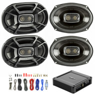 4X Polk 6x9 Inch 450W 3-Way Car/ Boat Coaxial Stereo Audio Speakers Marine DB692, Polk Audio PA330 330W 2 Channel AB MOSFET Car Amplifier Power Amp Stereo, Enrock Audio 8-Gauge Amp Install Wiring Kit