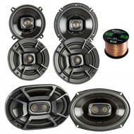 "2x Polk Audio DB522 5.25-Inch 300-Watt 2-Way Speakers, 2x 6.5"" 300W 2 Way Car/Marine Speakers, 2x 6x9 Inch 450W 3-Way Car/ Boat Coaxial Stereo Audio Speakers, Enrock 16-Gauge 50 Foot Speaker Wire"
