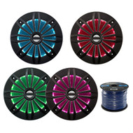 4X EnrockMarine 6.5-Inch Black 2 Way, 200 Watt, Marine, Loudspeaker Featuring Multi Color Illumination Options and Remote Control, Enrock Audio Marine Grade Spool of 50 Foot 16-Gauge Speaker Wire