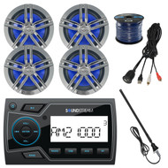 "Soundstream 2"" Marine USB Bluetooth Digital Media Receiver, 4x Enrock 180-Watts 6.5"" Water-Resistant Charcoal Speakers, 50 Foot 16-Gauge Speaker Wire, AM/FM Black Antenna, USB AUX Interface Mount"