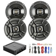 """4X Polk Audio 6.5"""" 300W 2 Way Car/Marine ATV Stereo Coaxial Speakers, New Polk Audio PA330 330W 2 Channel AB MOSFET Car Amplifier Power Amp Stereo, Enrock Audio 8-Gauge Amp Install Wiring Kit"""