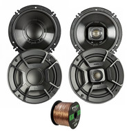 "2x Polk Audio DB652 6.5"" 300W 2 Way Car/Marine ATV Stereo Coaxial Speakers, 2x Polk Audio DB6502 6.5"" 300W 2 Way Car/Marine ATV Stereo Component Speakers, Enrock Audio 16-Gauge 50 Foot Speaker Wire"