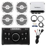 """Bluetooth Marine Radio, 4x 6.5"""" Speakers, Amplifier, Amp Kit, USB Mount"""