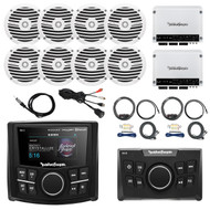 "Rockford Marine Receiver w/ 2.7"" Display, Remote Control, 8x 6.5"" Boat Full Range White Speakers, 2X 4-Channel White 400 Watt Amplifier,2X AMP Install Kit, Antenna - 40"", USB AUX Interface Mount"