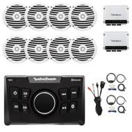 "Receiver, 8x 6.5"" White Speakers, 2X Amplifier, 2X Amp Kit, USB Mount"