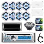 "DS18 HYDRO CD/USB/Bluetooth/AM/FM/AUX Single Din In-Dash Car Radio Receiver, Jensen Water Resistant Silver Cover, 8x White 8"" Speakers, 2x 4 Channel AMP, Subwoofer, 2x AMP Install Kit, Antenna 40"""